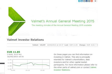 Valmet's investor website is the best of the Large Cap companies in Finland