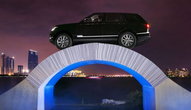 British manufacturers stage world-first drive across paper bridge