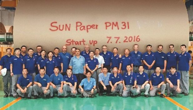 Voith breakthrough with startup of Sun Paper's new testliner project