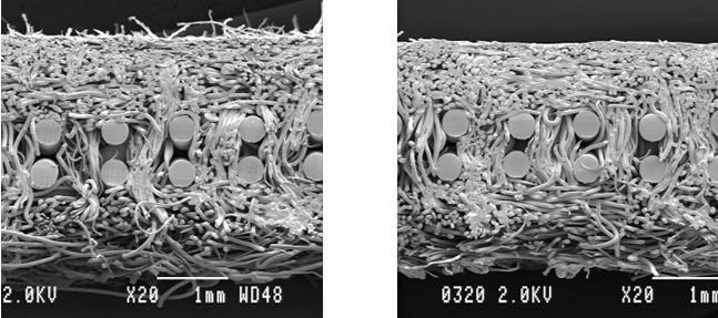 Figure 1: Pore size visual appearance with (right) and without (left) Rapid add on.