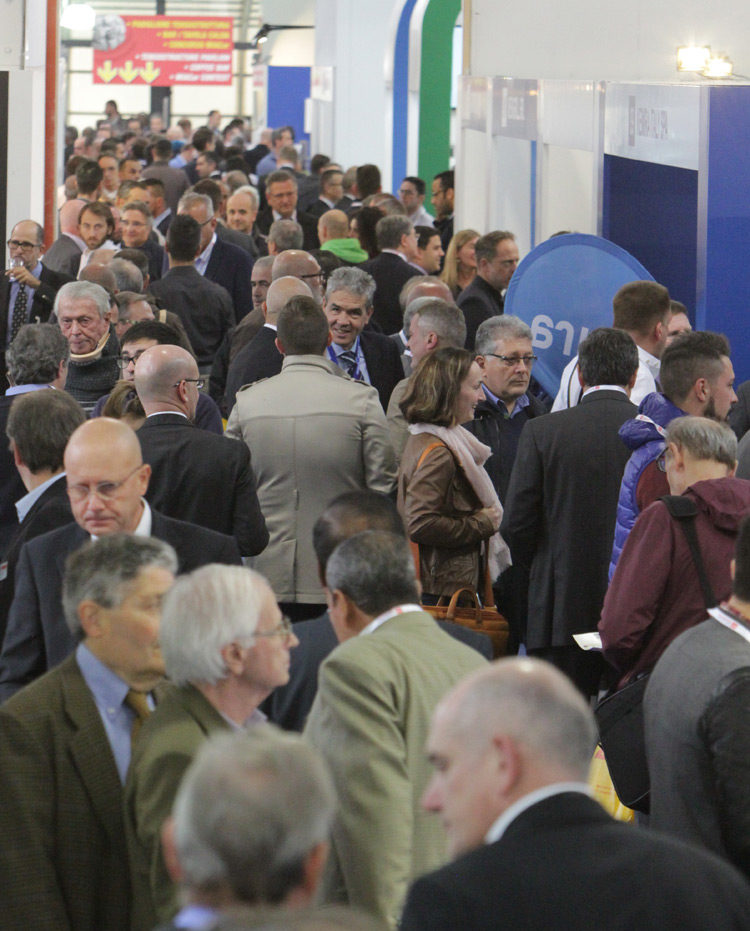 The aisles of MIAC Exhibition in Lucca/Italy.