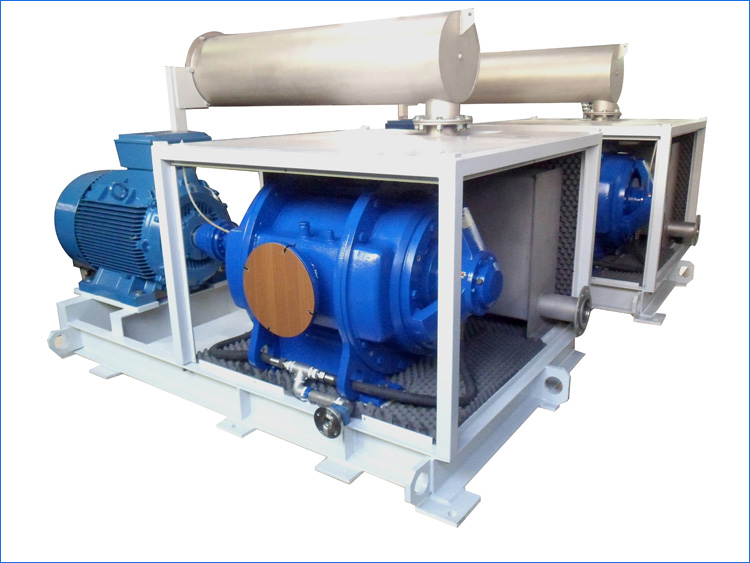 Pump skid ALN40_2000 high vacuum with mechanical seals, in AISI316, with direct coupling and soundproofing cabin.