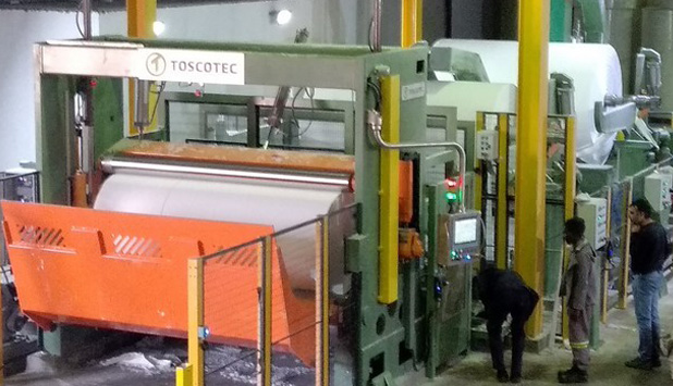Hygienic Tissue Mills fired up a new TT WIND-P tissue rewinder supplied by Toscotec, in South Africa