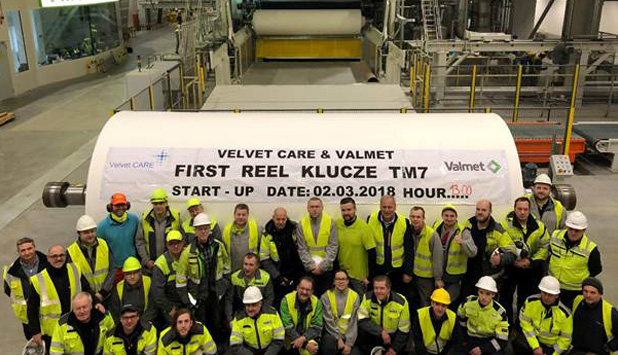 A new tissue production line started up at Velvet CARE's mill