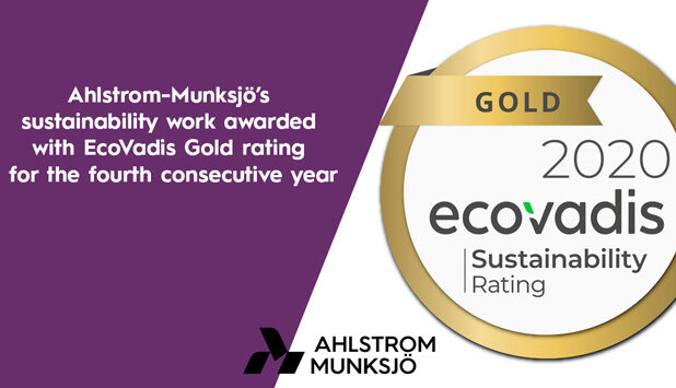 Ahlstrom-Munksjö's sustainability work awarded with fourth consecutive EcoVadis Gold rating